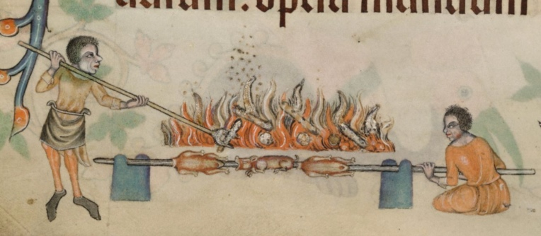 Add MS 42130 f.206v two fellows roasting meat