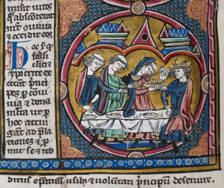 Harley MS 1526 f. 24v priests and king eating