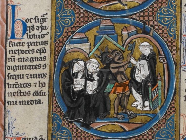 Harley MS 1526 f.4v demons monks key reading