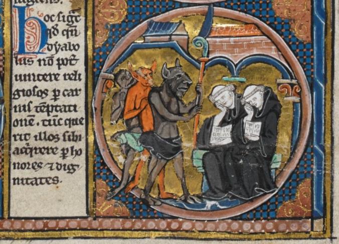 Harley MS 1526 f.5r demons monks reading