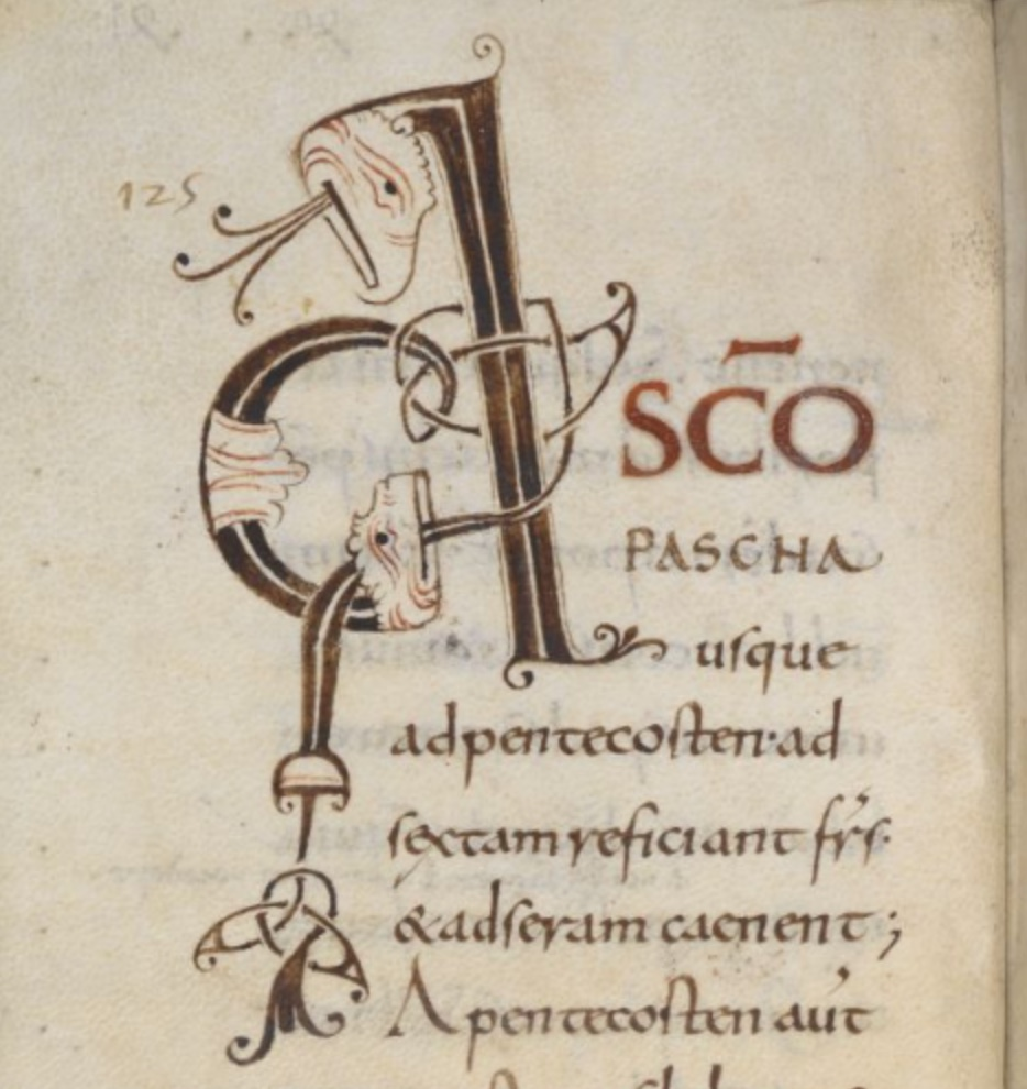 Harley MS 5431 f.68v beginning of chap41 of Rule of Saint Benedict