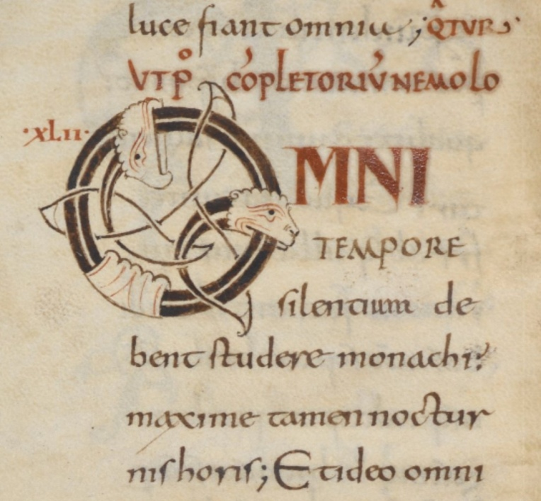 Harley MS 5431 f.69v beginning of chap42 rule of st. benedict