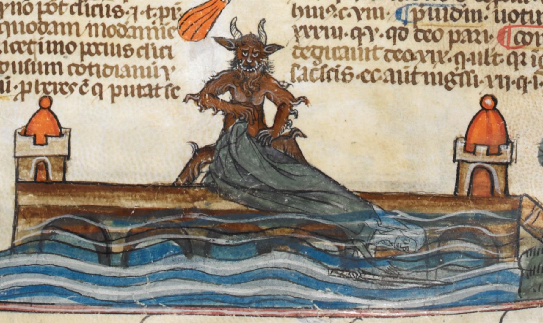 Royal MS 10 E IV f.192r nun and demon drowning
