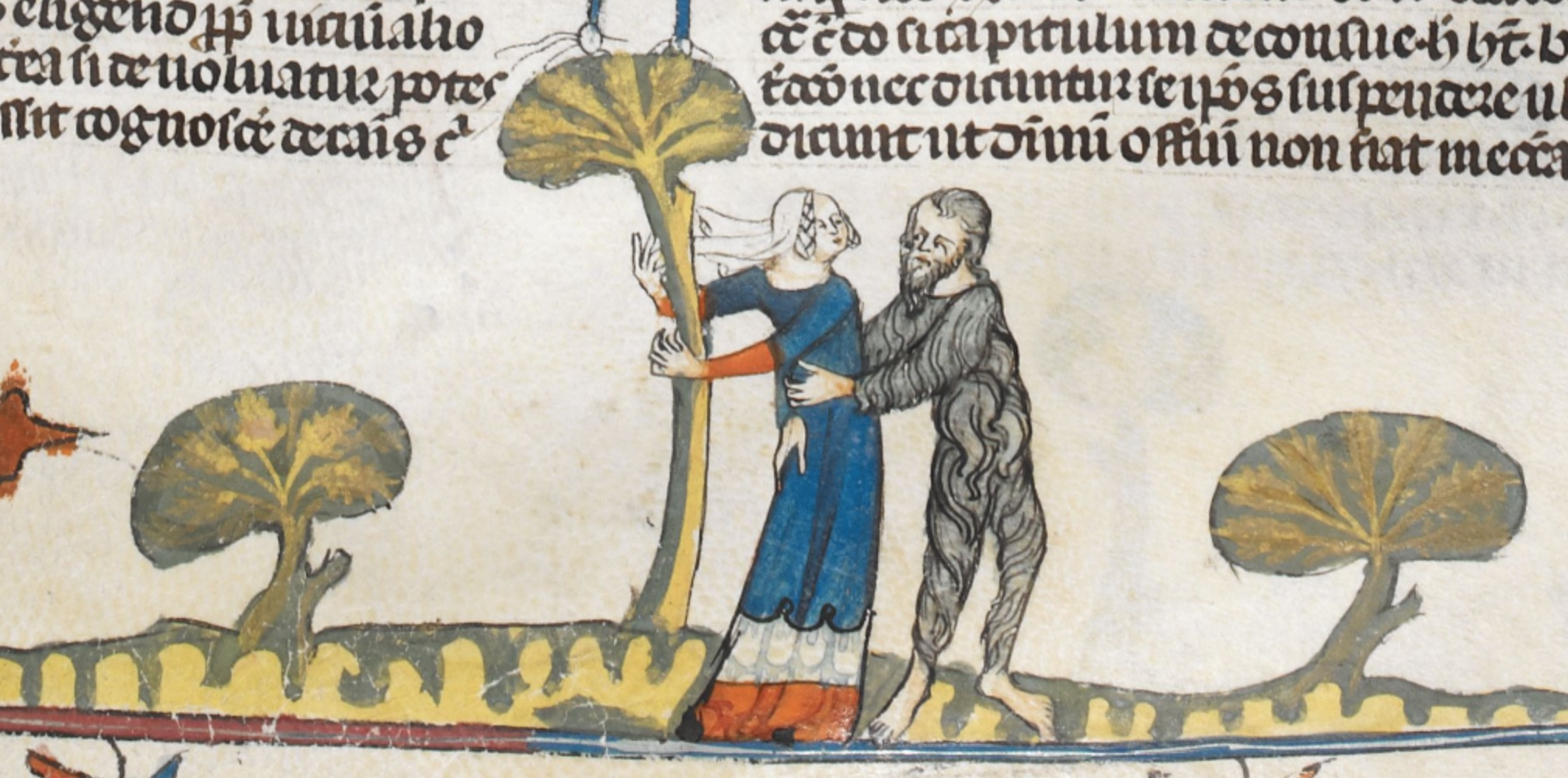 Royal MS 10 E IV f.72r woman being abducted by wild man
