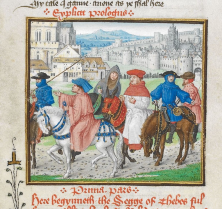 Royal MS 18 D II f.148r pilgrims on road to canterbury from John Lydgate's Prologue of the Siege of Thebes