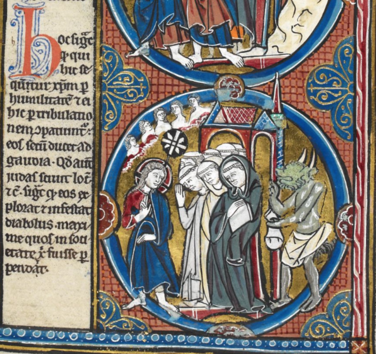 Picture from Harley MS 1527 f.50r Monks are talking to Christ while a demon talks to the monk. Writing in Latin is on the left side of the picture.