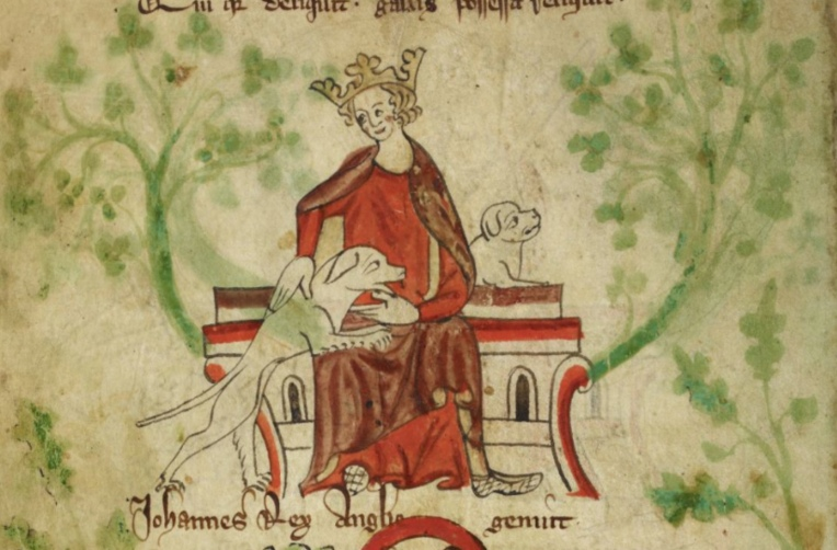 Royal MS 20 A II f.8v King John with his Dogs