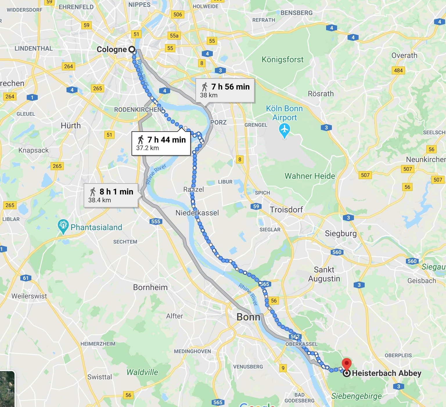 Google Maps Screenshot of Path from Cologne to Heisterbach Abbey