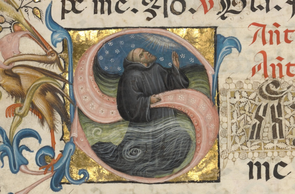 Initial S- A Monk Praying in the Water | Ms. 24, leaf 2 (86.ML.674.2.recto) | Source: The Getty Museum