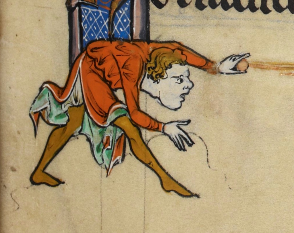 An illumination from a medieval manuscript of a blonde man in an orange and green tunic and golden yellow hose bending over with a ball in his hand.