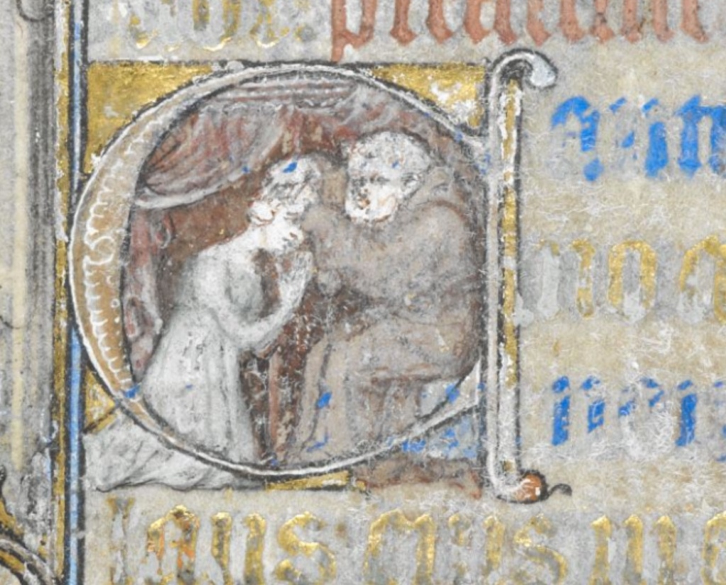 A woman confessing to a priest. Yates Thompson MS 27 f.51v.
